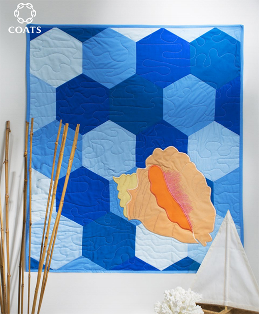 Conch Shell Quilt Featuring Coats Dual Duty XP, Designed By Rebecca Kemp Brent of Make it Coats