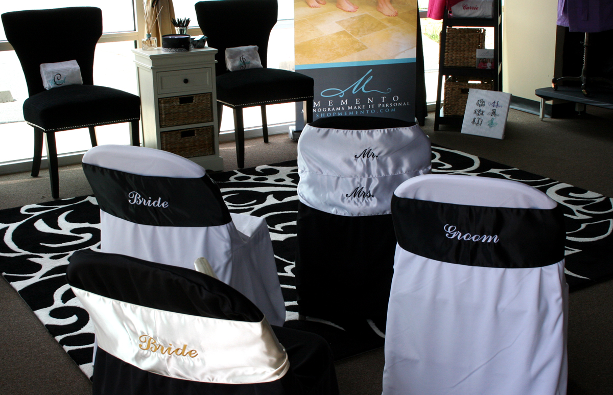Bride And Groom Chair Covers Plastic Mats For Desk Chairs Memento Monograms Make It Personal Wedding Wednesday