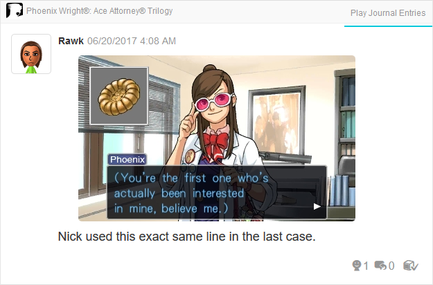 Ema Skye attorney's badge Phoenix Wright Ace Attorney Trilogy 3DS Miiverse Capcom Nintendo
