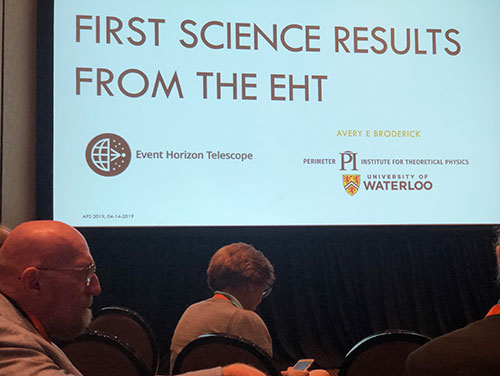 More EHT scientific results, wit Kip Thorne in front (Source: Shep Doeleman, EHT Collaboration, April APS Meeting in Denver)