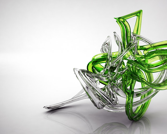 3D Wallpaper Characters : 3D White and Green Glass