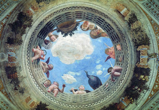 Mantegna's ceiling of the Camera degli Sposi shows how he created an illusion of depth through his use of perspective