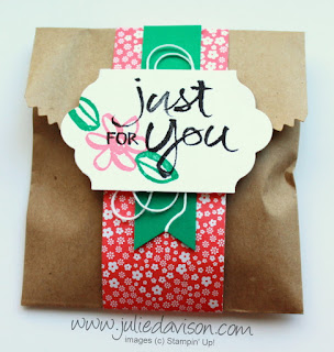 New In Colors!! Stampin' Up! Watercolor Words Gift Bag for 3x3 In Color Notecards #stampinup www.juliedavison.com