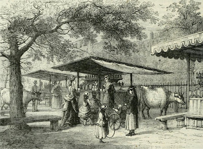 Milk fair, St James's Park  from Old and New London by E Walford (1878)