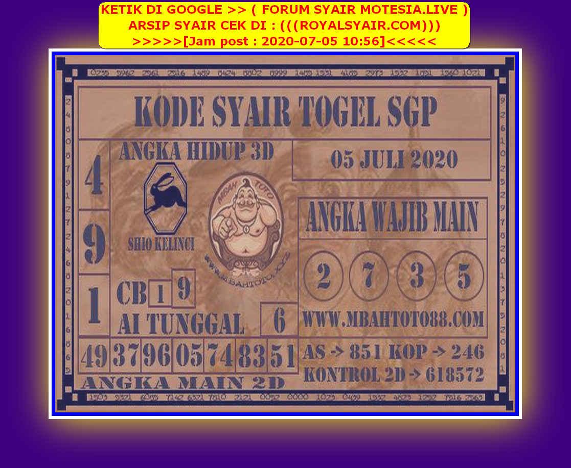 Kode syair Singapore Minggu 5 Juli 2020 134
