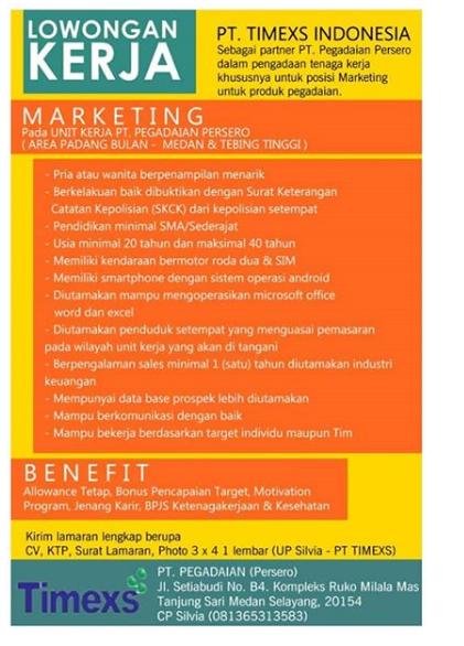 Lowongan Kerja Marketing PT Pegadaian (persero) - PT Timexs Indonesia