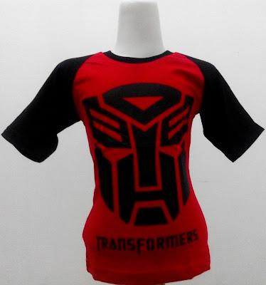 Kaos Raglan Anak Karakter Transformers 4 Merah