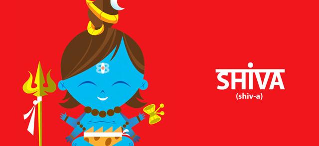 A imagem é uma ilustração de shiva. Ele tem a pele azul e cabelo castanho onde pode ver uma cobra. Além disso eme tem 4 braços e muitos efeites.