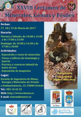 Cartel certamen minerales de la Escuela de Minas de Oviedo, 2017