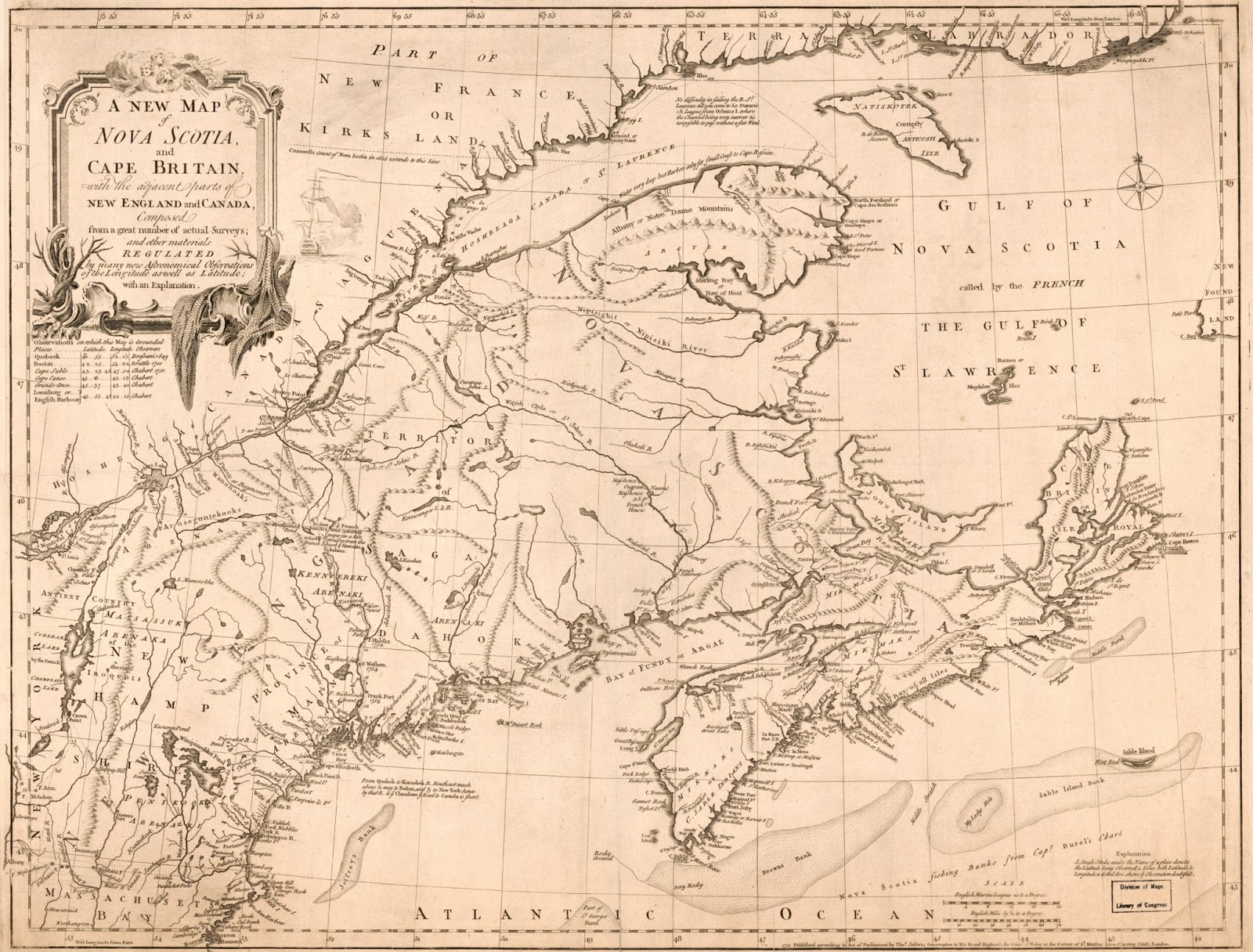 vaugondy s map naturally provoked a british response with this map by bradock mead which shows nova scotia as extending from the peninsula all the way to