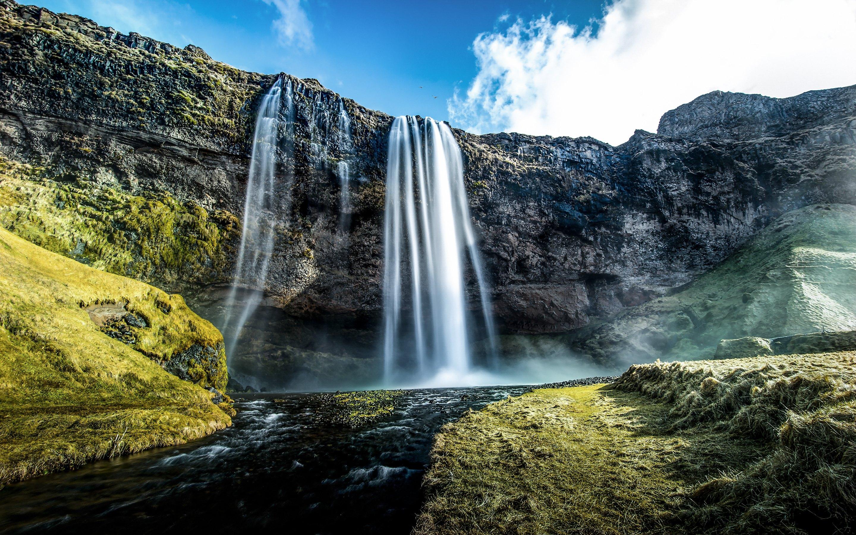 wallpaper only seljalandsfoss waterfall macbook desktop
