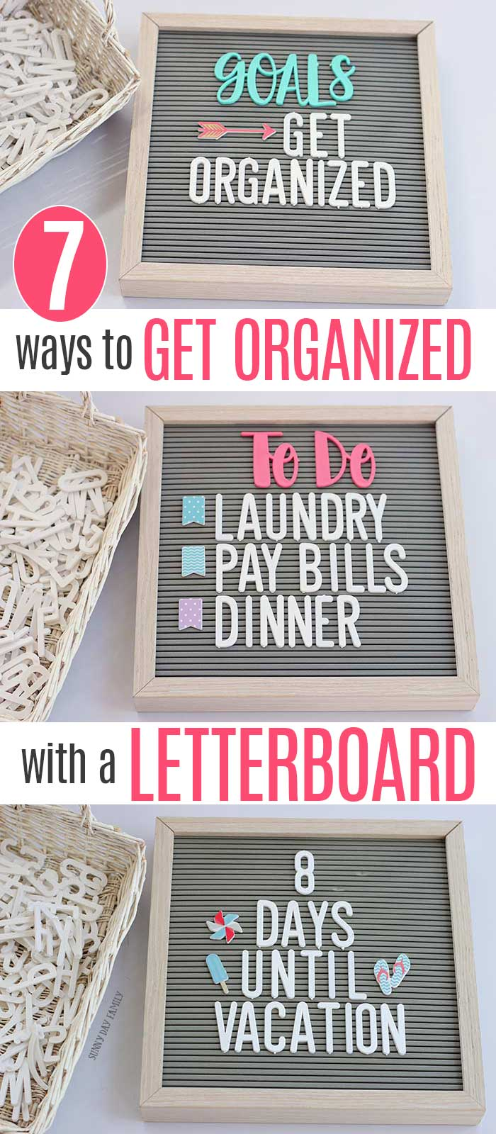 Use a letter board to get organized. These ideas are GENIUS! Super easy ways to use a letterboard for home organizing. #letterboard #organizing #homedecor #organize #homeideas