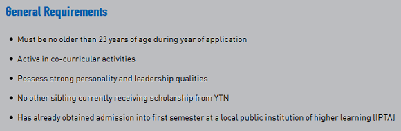Yayasan TNB scholarship general requirements