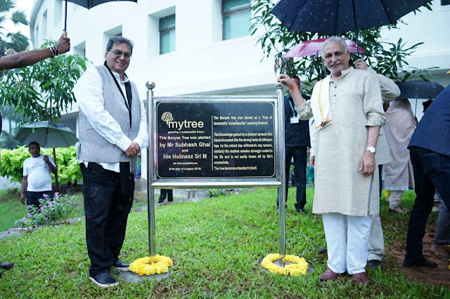 Whistling Woods International felicitates Spiritual Guru Sri M as he starts off his mission 'MyTree' at the Institute's 5 acre green campus.