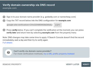 Verify domain ownership via DNS record