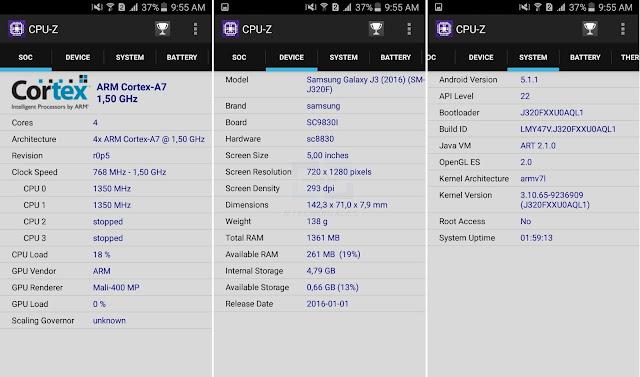 Reporte CPU-z J320F