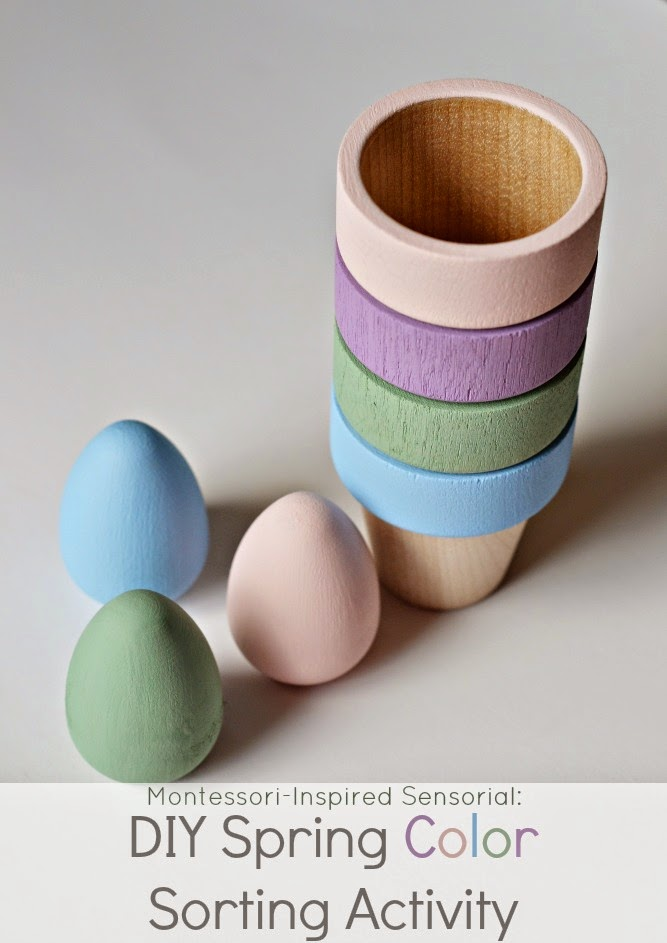 Montessori April Activitieswith wooden eggs and wooden cups