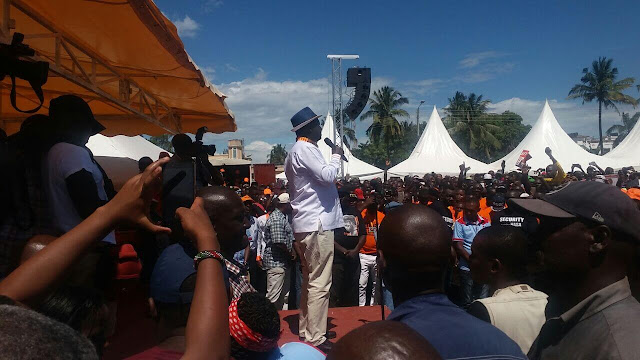 Raila Odinga in Kilifi. PHOTO | FILE