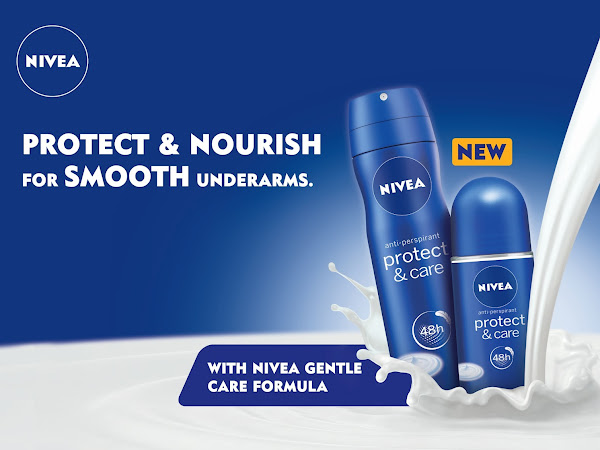 Nivea Protect & Care Deodorant : Penjagaan dan perlindungan kulit berpanjangan.