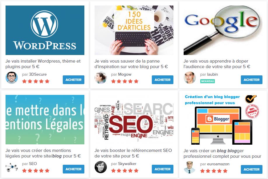 Services vendus par des blogueurs sur 5euros.com
