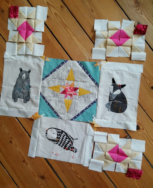 Puppilalla,Gingiber, Thicket Fabric, star quilt, baby blanket, Stellar Flare Quilt block