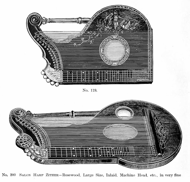 1890 zithers by Franz Waldecker & Co., Salon Harp Zither