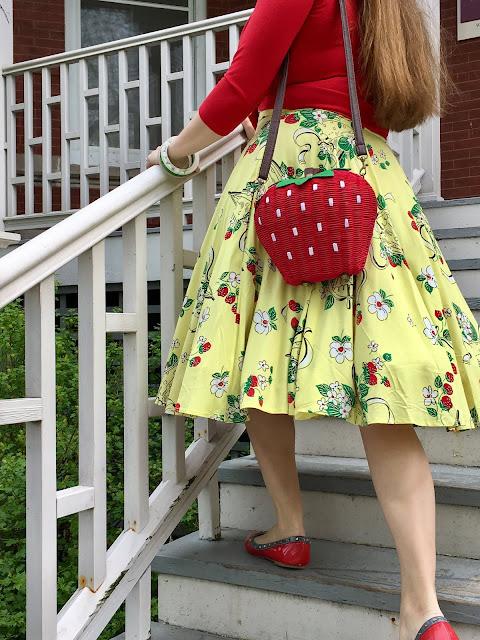 strawberry wicker purse