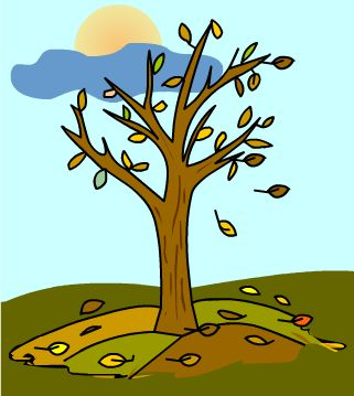 Dibujo de un arbol con pocas hojas secas en Otoño