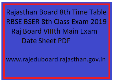 Rajasthan Board 8th Time Table 2020 RBSE 8th Class Date Sheet