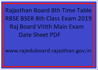 RBSE 8th Class Exam 2019 Time Table Date Sheet