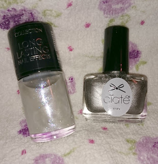 Silver nails with glitter