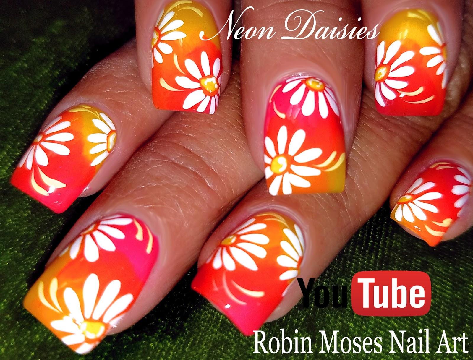 Nail Art By Robin Moses Neon Daisy Nails 2 Spring 2018 Nail Art