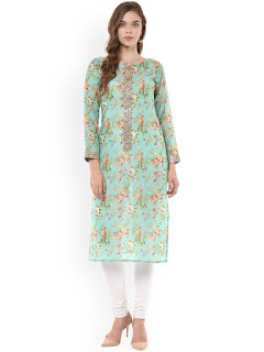 Ahalyaa Women Sea Green Floral Print Straight Kurta