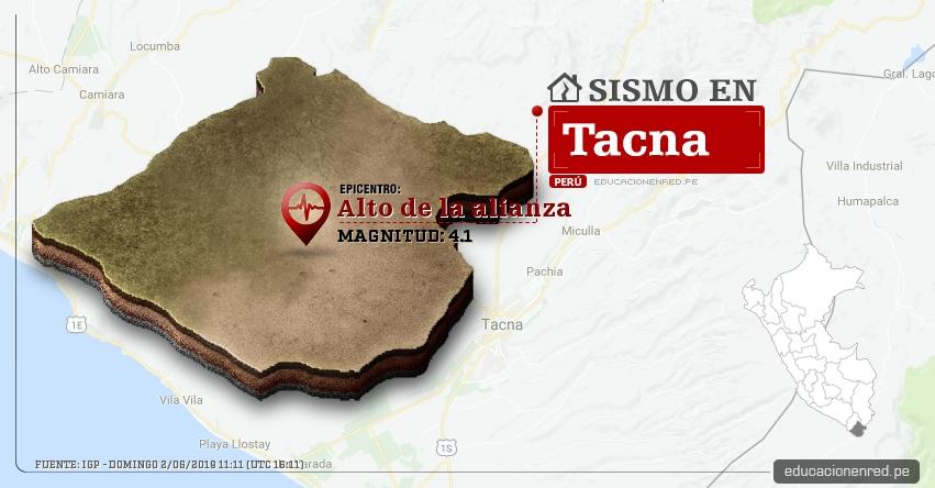Temblor en Tacna de Magnitud 4.1 (Hoy Domingo 2 Junio 2019) Sismo Epicentro Alto de la alianza - La Esperanza - IGP - www.igp.gob.pe