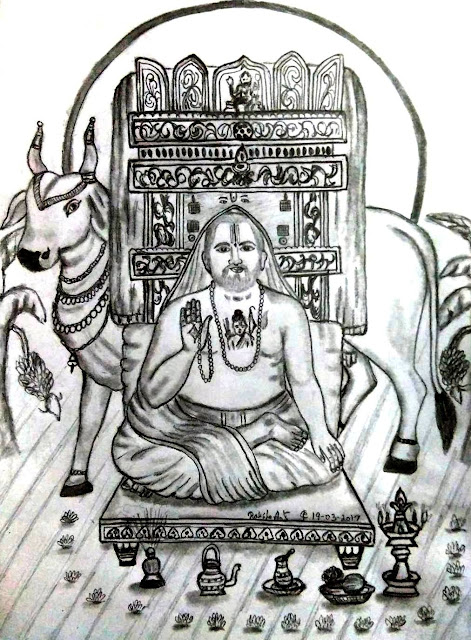 PENCIL DRAWING - SRI RAGAVENDRA SWAMI
