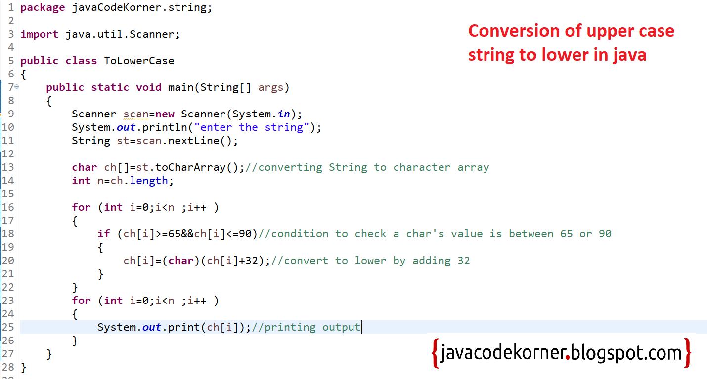 Convert Upper Case String to Lowercase In Java - Java Code Korner