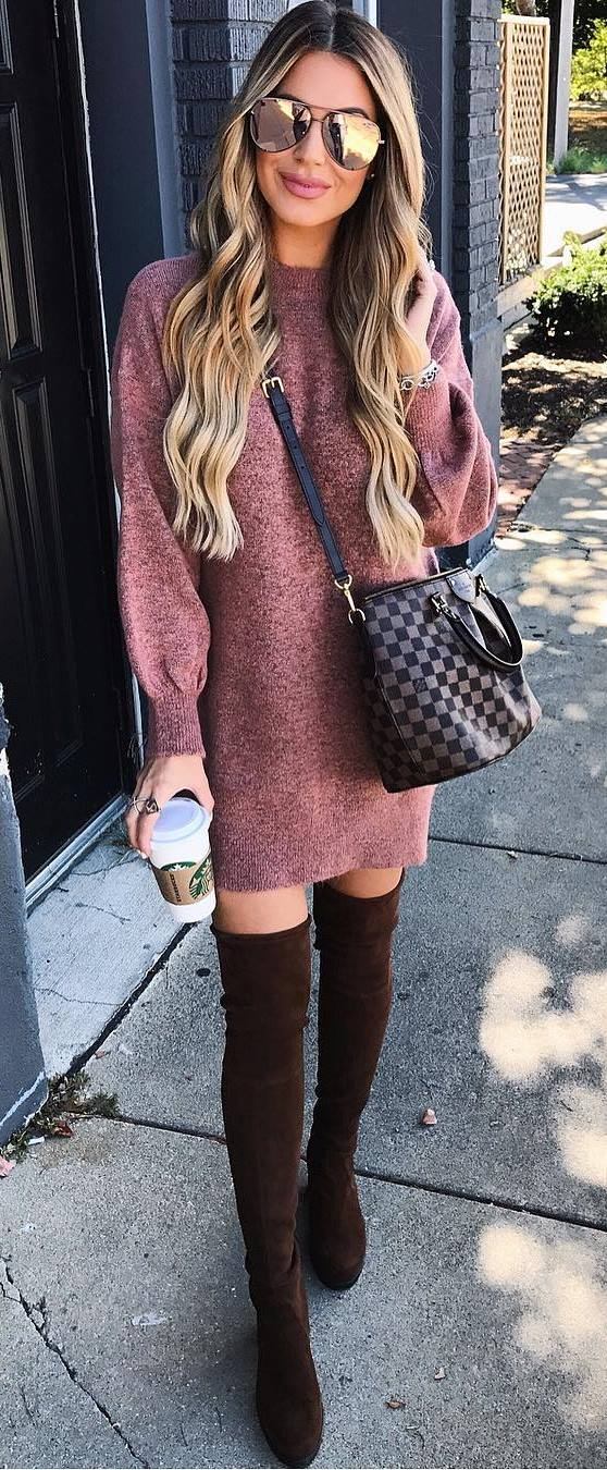 fall fashionbale outfit : sweater dress + plaid bag + over the knee boots