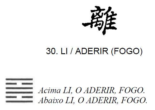 Imagem de 'Lin / Aderir (Fogo)' - hexagrama número 30, de 64 que fazem parte do I Ching, o Livro das Mutações