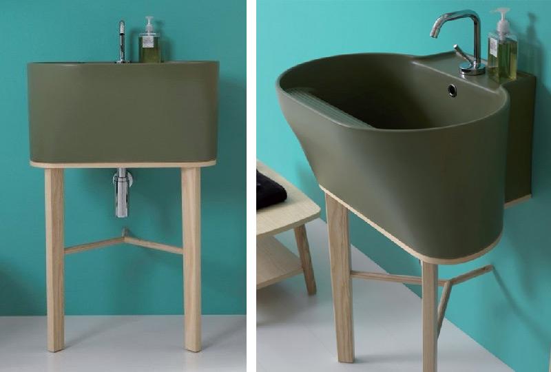 Lavabo TINO con gambe in legno di frassino