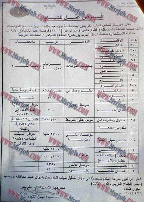 وظائف محافظة بورسعيد تعلن عن 1406 وظيفة للشباب من الجنسين 1 / 3 / 2017