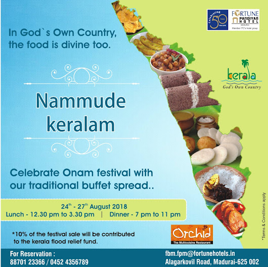 Celebrate Onam Festival with our traditional buffet Spread @Fortune Pandiyan Hote Madurai