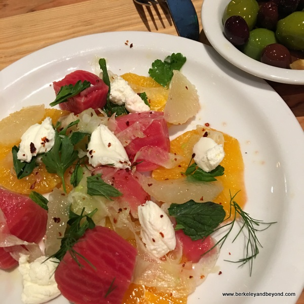 colorful citrus-beet salad and olives at Benchmark Oakland in California