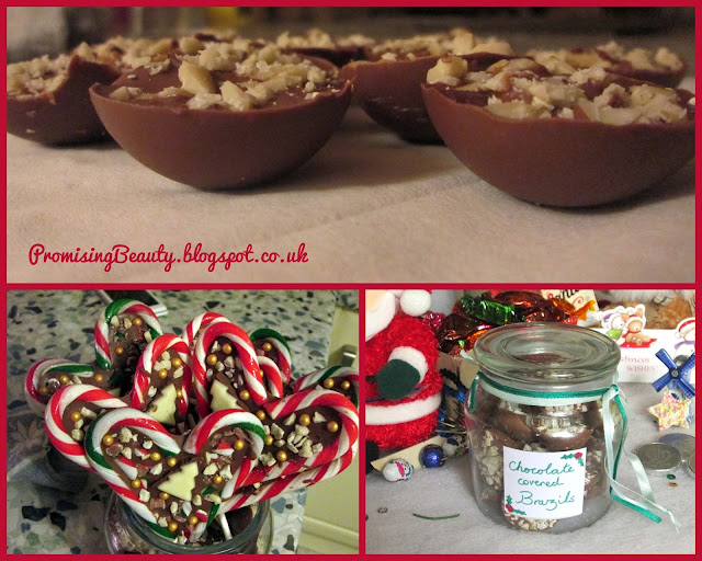 Chocolate DIY Christmas treats with candy canes, brazil nuts and recycled candle jar. Cooking for Christmas.