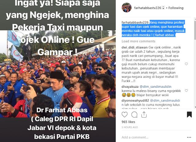 Farhat Abbas: Yang Menghina Profesi Supir Taxi dan Ojek Online, Gua Gampar!