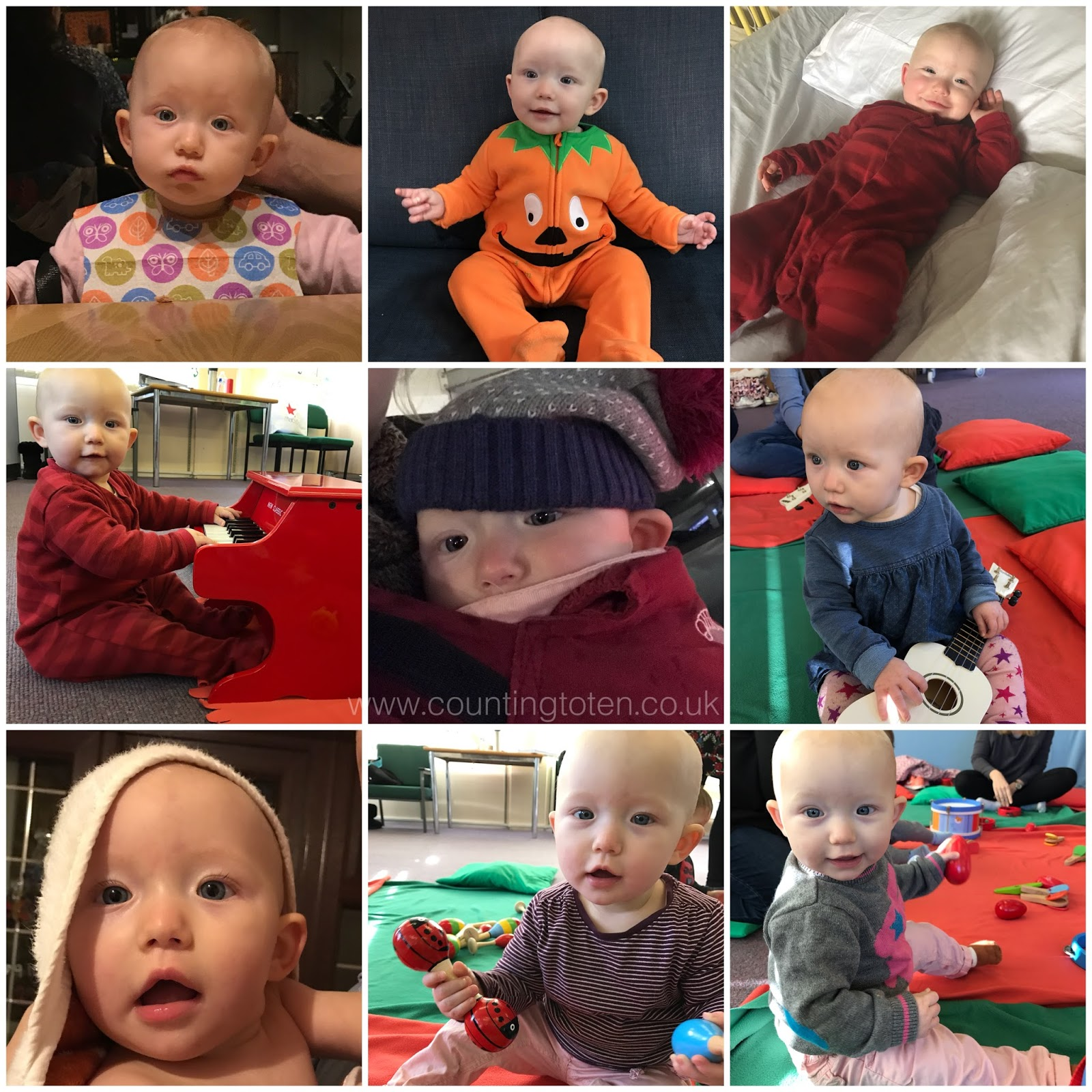 9 photographs of a baby girl aged 9 months includes eating, sitting in a pumpkin outfit, sitting in front of a mini piano, in a baby carrier and reclining on a white bed