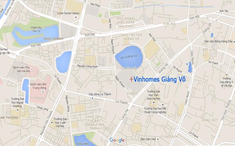 Vị trí chung cư Vinhomes Gallery Giảng Võ