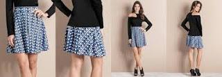 modelo de saia azul xadrez