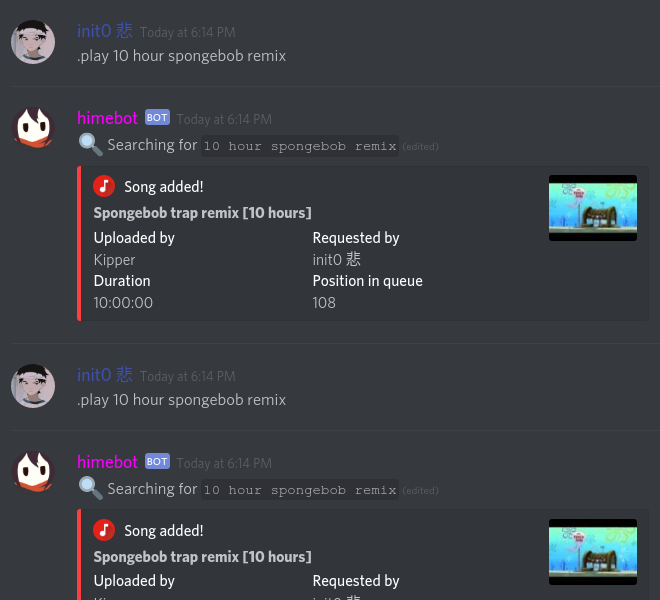 Hime bot discord commands
