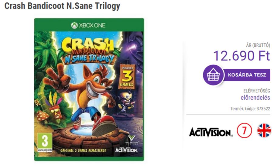 Se lista Crash Bandicoot N. Sane Trilogy para diciembre en Xbox One