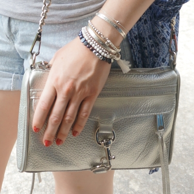 Roie Designs pearl, howlite and hematite beaded bracelets, Rebecca Minkoff silver mini MAC bag | Away From The Blue